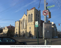 Sacred Heart Church, 2 blocks from proposed Target