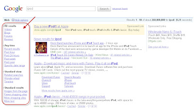 Google's previous search result page layout May 5, 2010