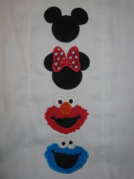 Mickey, Minnie, Elmo, Cookie Monster Applique