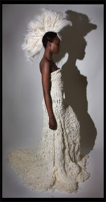 Sarah Hermez Parsons thesis white knit wedding dress and Native American inspired headdress @ Dream Sequins