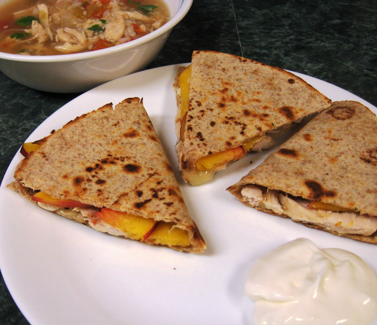 Dinner... Healthy & Low Calorie: Pepperjack Peach Chicken Quesadilla ...