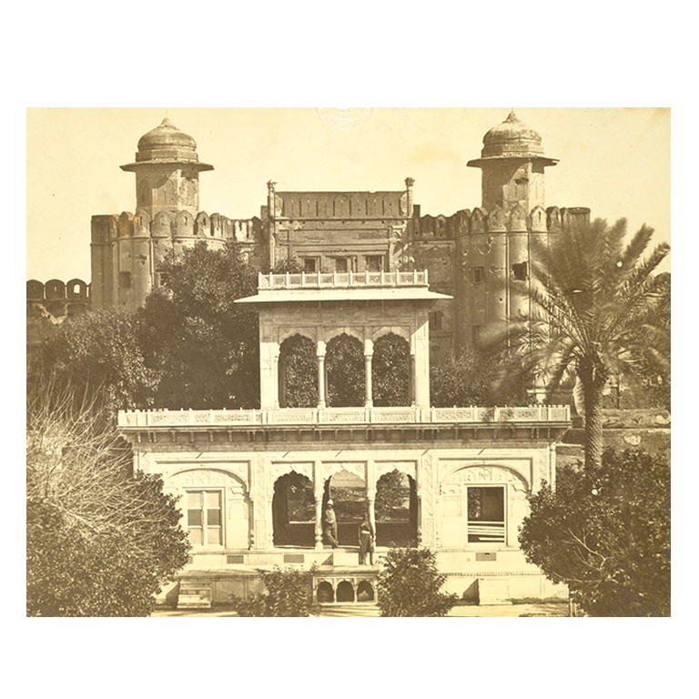 Marble pavilion and old entrance to the fort - Lahore 1860-70's