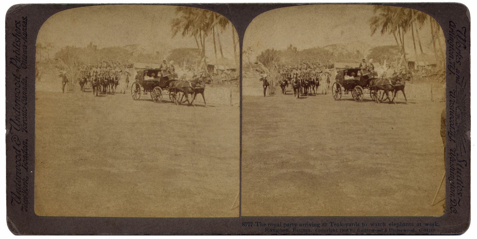 The royal party arriving at Teak-yards to watch elephants at work, Rangoon Burma
