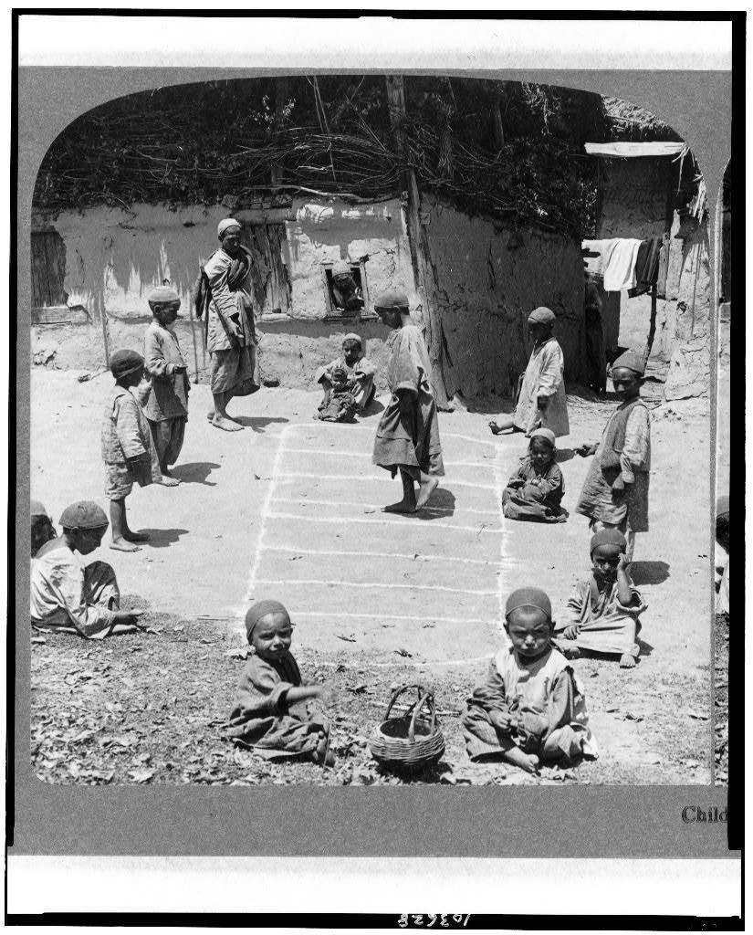 Little children playing Hop Scotch in Cashmere (Kashmir) - 1903
