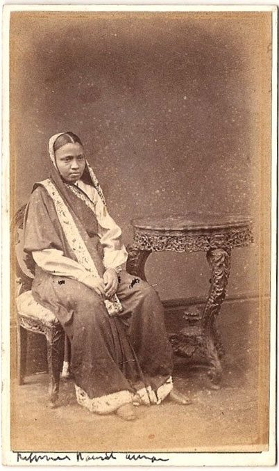 Vintage Photograph of a Woman in Sari - India 1875