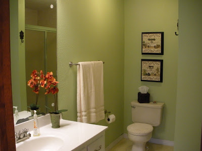 paint bathroom on the guest bathroom is much more beachy the walls are. Black Bedroom Furniture Sets. Home Design Ideas