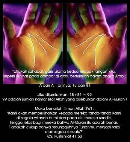 Mukjizat Allah, tanda 99 (Asmaul Husna) pada telapak Tangan
