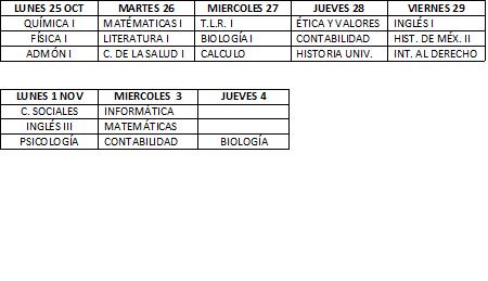 Rol de Examenes del II PARCIAL 25 de oct. al 4 Nov.