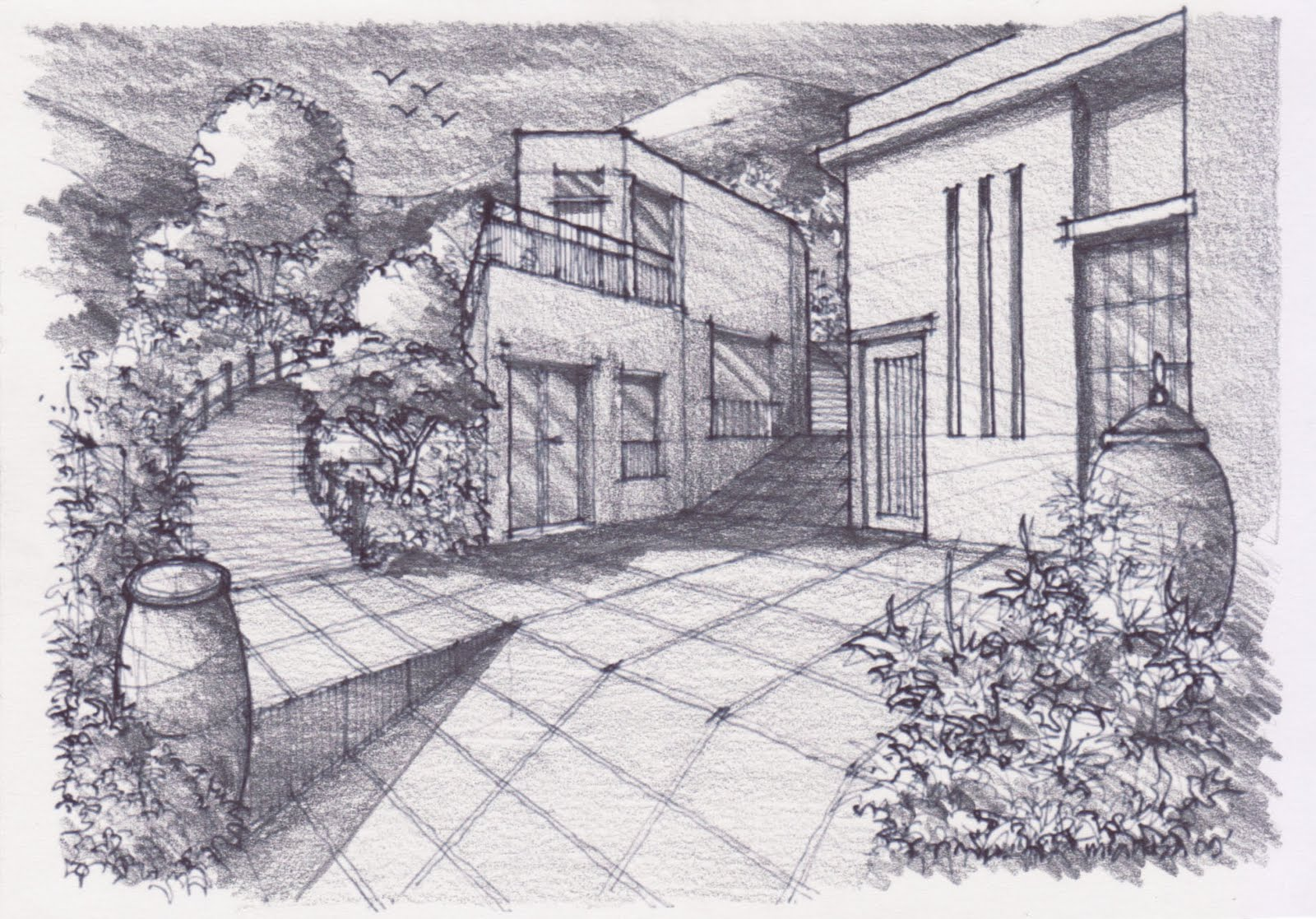how to draw a landscape with pencil