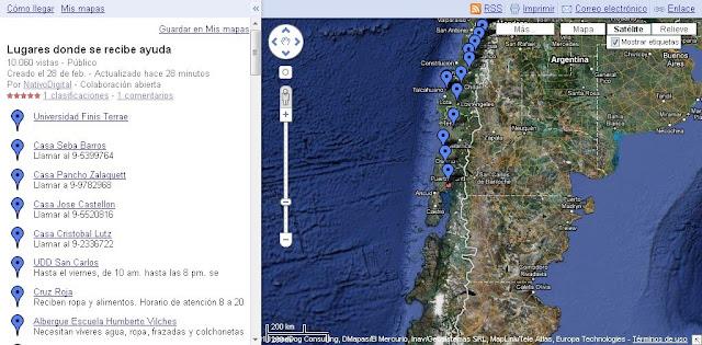 Mapa lugares de acopio Chile