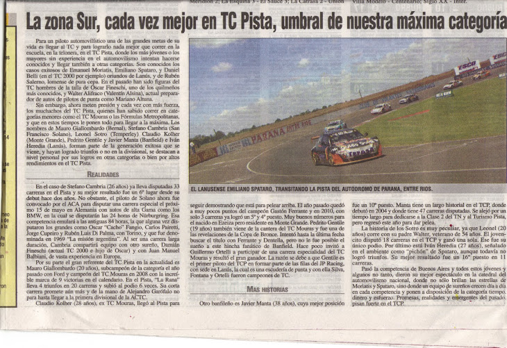 NOTA ACERCA DE LOS PILOTOS SUREÑOS EN EL TC PISTA