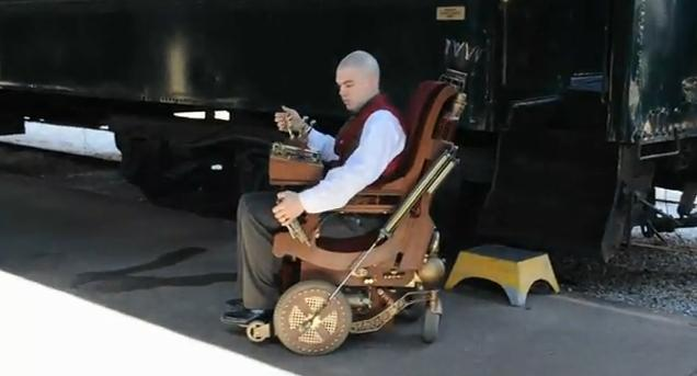 Just rambled across this here YouTube video of a Steampunked-up antique  wheelchair by Smeeon, with all sorts of fascinating bells n' whistles -  most notably ... - Revelation Awaits An Appointed Time: Professor X's Wheelchair
