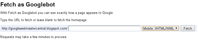 Fetch as Googlebot-Mobile