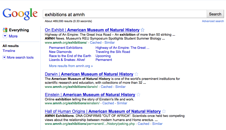 Googles sökresultat: Exhibitions at American Museum of Natural History