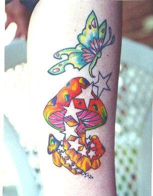 Start Tattoos Mushroom and Butterfly