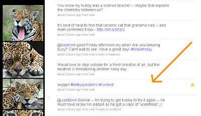 jaguarjulie twitter tweet oxygen #twittyquestions #contest