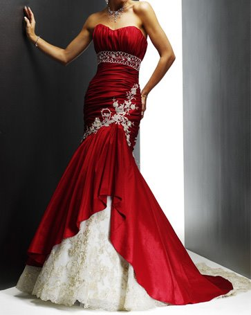 Red Strapless Embroidery Wedding Dress