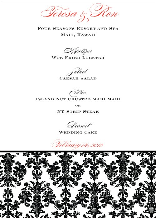set but then we used the damask border design to create her menu cards