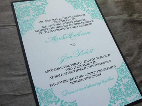 Marisa Jon 39s Tiffany Blue Damask Wedding Invitations. Vineeta s blog  I love these tea party ideas from Wedding Style