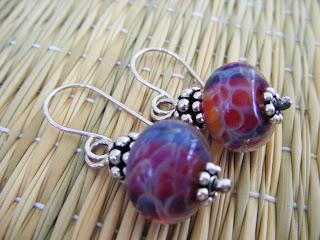sweetheart boro lampwork sterling silver earrings