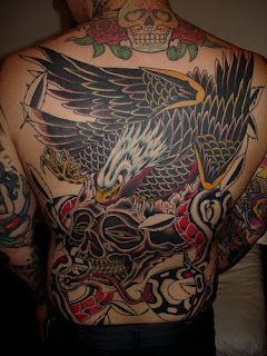 Eagle tattoo art design on full back body