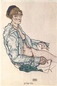Schiele-Sitzende Frau mit blauem Haarband