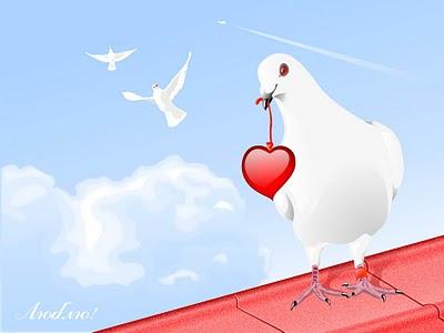 Golub nosi srce za Valentinovo