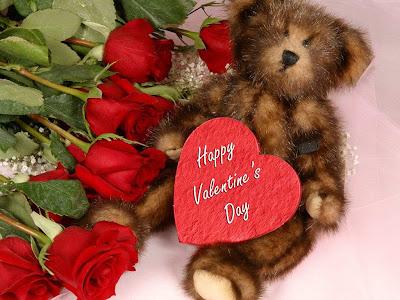 Medvjedić i cvijeće - besplatna e-card čestitka za Valentinovo