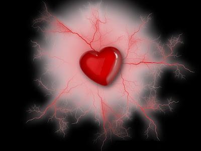 Ljubavno srce sa krvnim žilicama