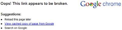error u Chrome Oops! This link appears to be broken