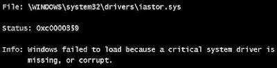 Upgrade Vista to Windows 7 error iastor.sys error 0xc0000359