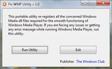 Download besplatni programi Fix WMP Utility - ispravite Windows Media Player