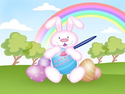 Happy Easter, zečić i obojana jaja, e-card čestitka za Uskrs