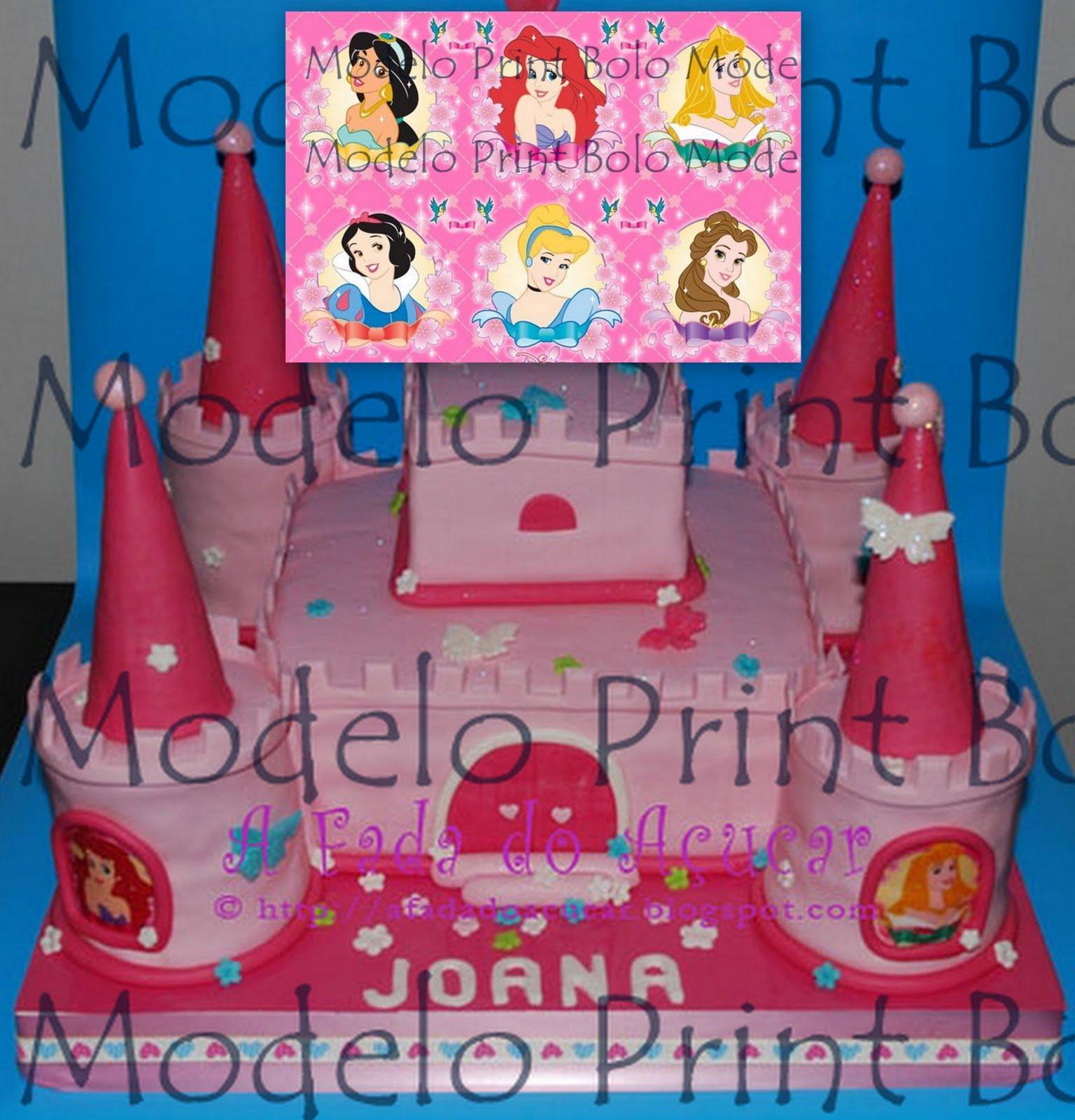 Das Princesas Disney Em Folha Glacada Em Pasta De Acucar Da Print Bolo