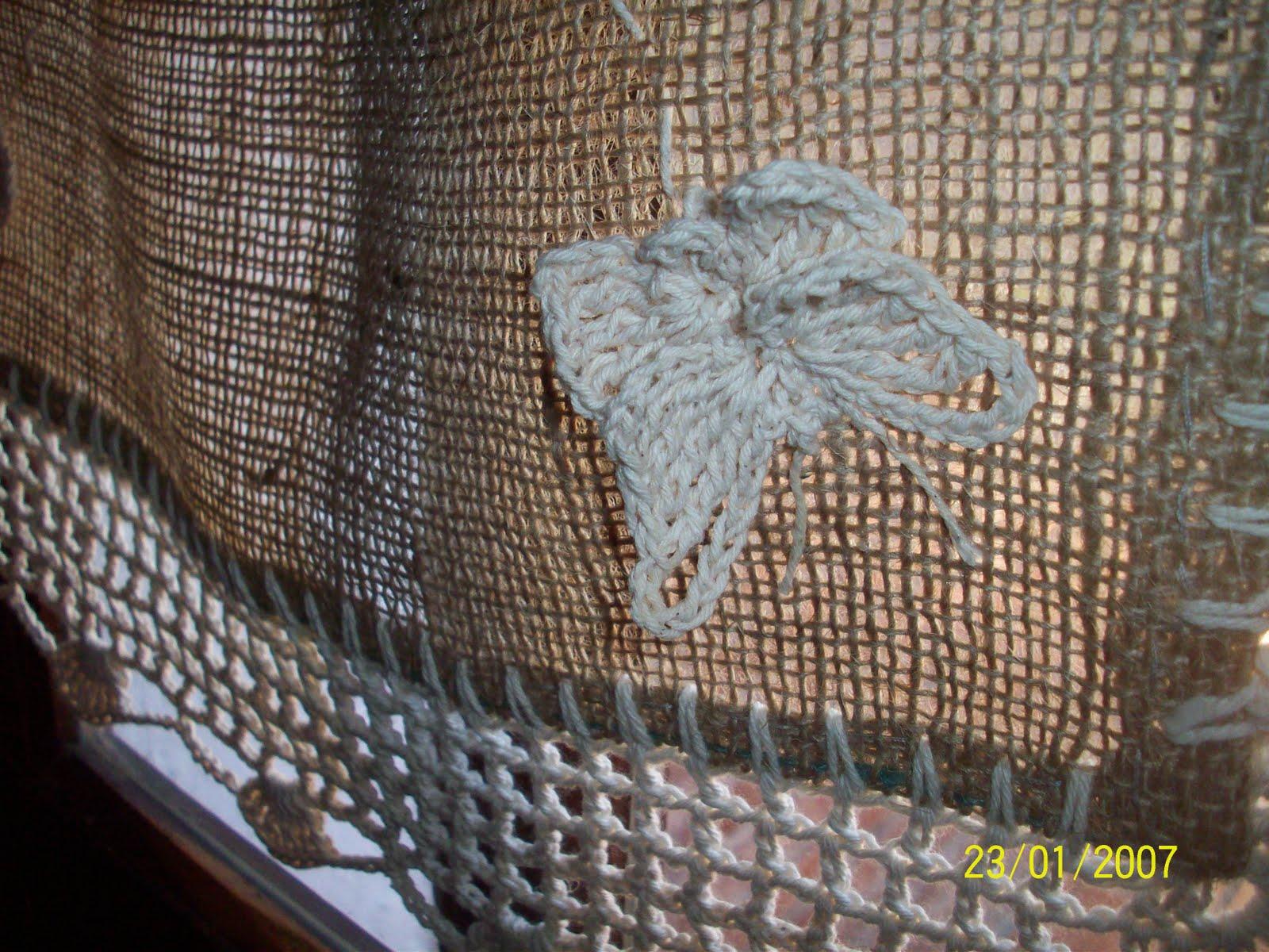 Lelamagdalena visillo de arpillera y crochet - Telas rusticas para cortinas ...