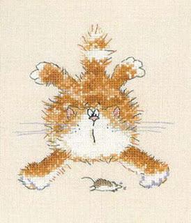 схема вышивки крестом рыжий кот
