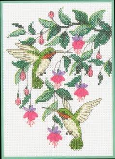 схема вышивки крестом колибри