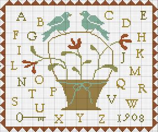 схема вышивки крестом майский семплер