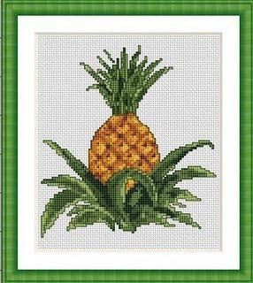 схема вышивки крестом ананаса