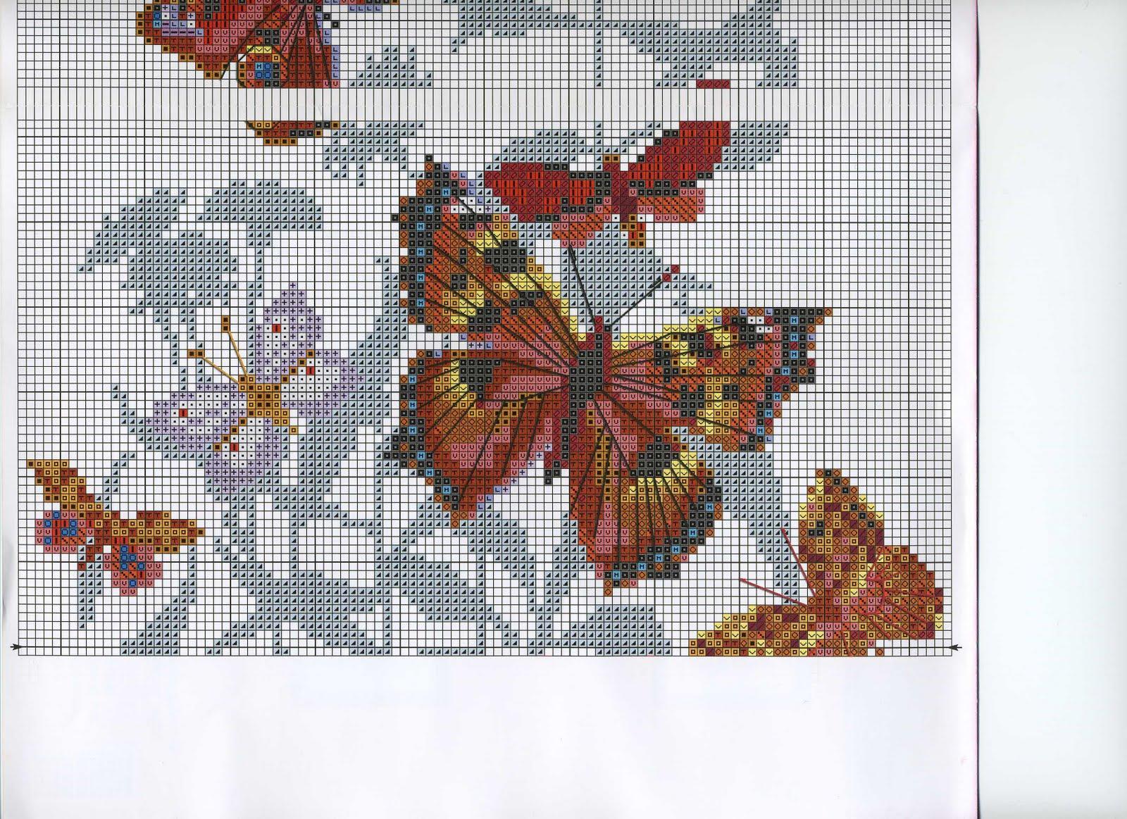 Вышивка крестиком как с бабочкой