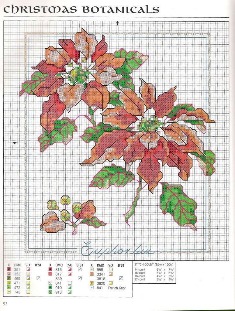 Цветы часть 2. Схема для вышивки крестом.  Цветы часть 5. Схемы и работы вышитые крестиком.