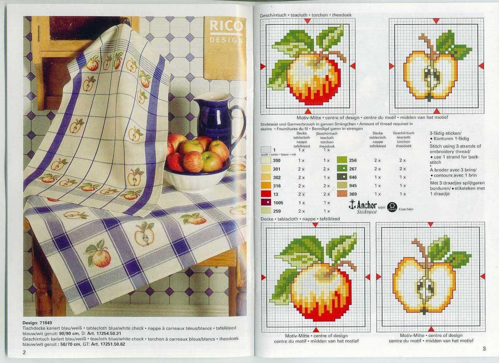 Схемы вышивки крестом для кухонных полотенец