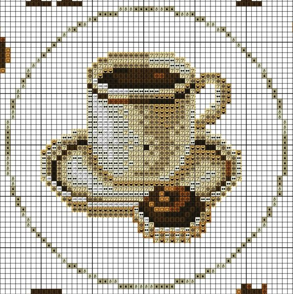 Схема вышивки часов с чашкой кофе.  Прочитать целикомВ.