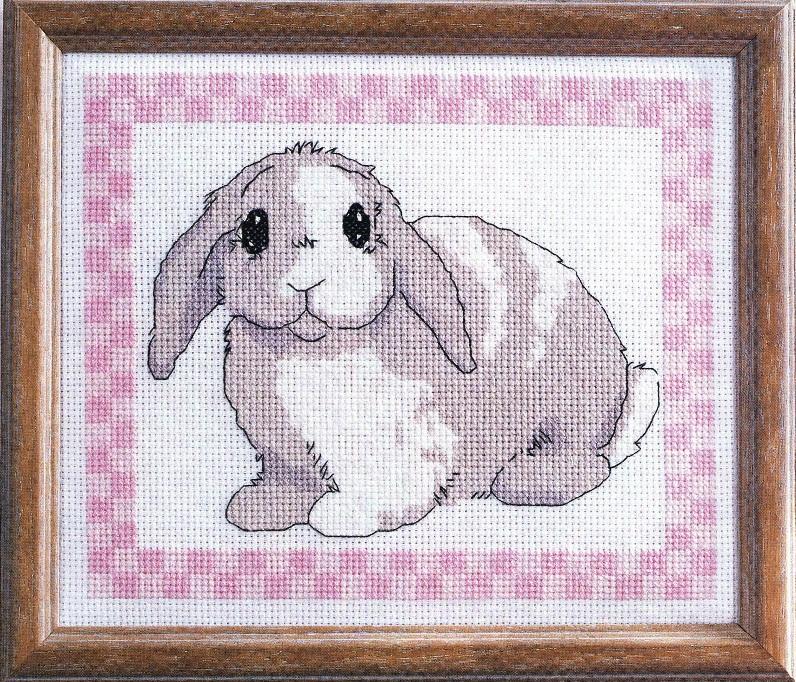 Схема вышивки крестом кролика.