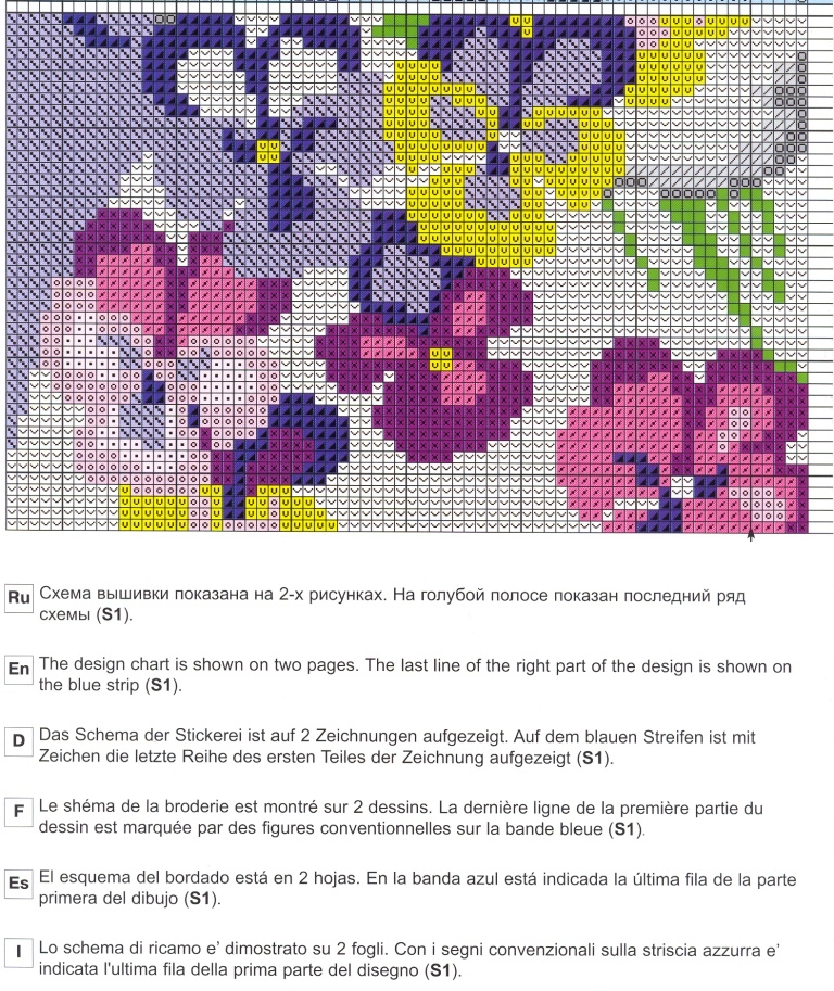 Схема вышивки подушечек