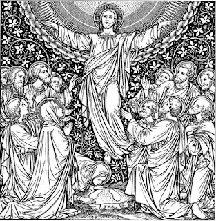 Jesus Christ Ascension coloring page -Jesus's 12 Apostles, women, and people praying Christ on the day Jesus Jesus going to heaven hd(hq) wallpaper free download Christian festival pictures and religious cliparts(clip arts) download