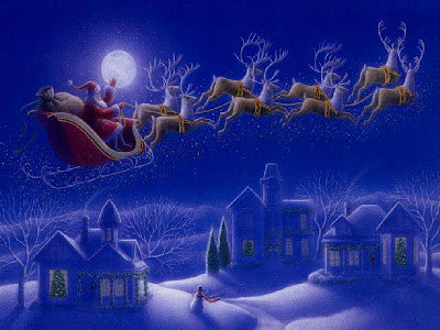 Santa Claus coming over the house hot image