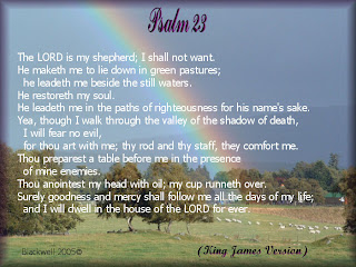 Psalm 23 King James (version)bible Verse with beautiful rainbow background hot image