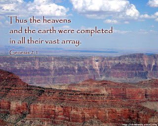 Christian Genesis 2:1 verse about Earth and heaven as Thus the heavens and the earth were completed in all their vast array
