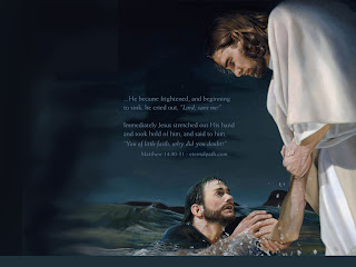 Jesus Christ (The savior) in white colothes helpining a man in sea water and matthew verse background gallery